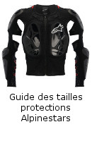 Guide des tailles protections Alpinestars