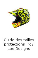 Guide des tailles protections Troy Lee Designs