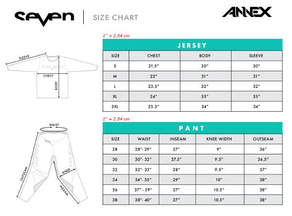 Guide des tailles Seven MX Annex