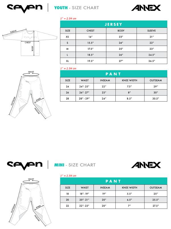 Guide des tailles Seven MX Annex Enfant