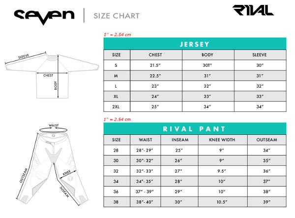 Guide des tailles Seven MX Rival
