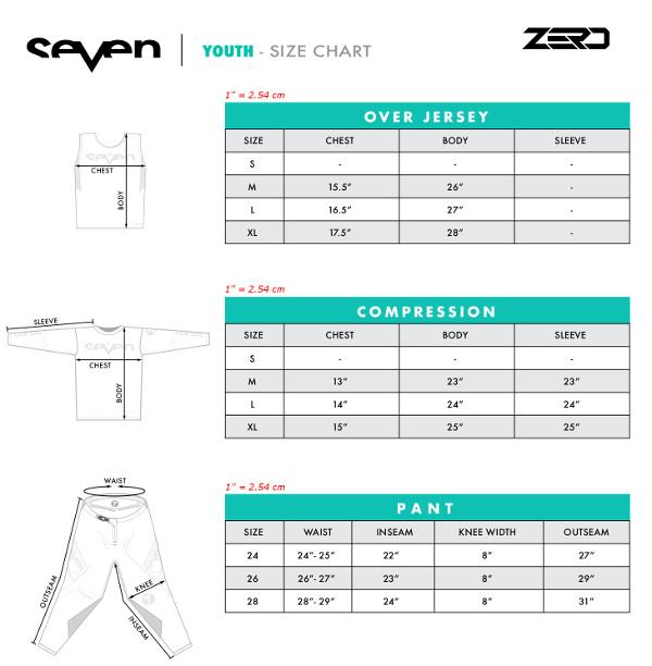 Guide des tailles Seven MX Zero Enfant